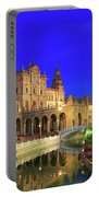 Plaza De Espana At Night Seville Andalusia Spain Portable Battery Charger