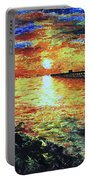 Pondicherry Beach Sunrise Portable Battery Charger