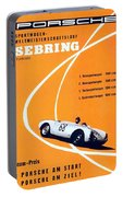 Porsche Sebring Vintage Racing Poster Portable Battery Charger