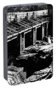Post Falls Dam Black And White Portable Battery Charger
