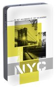 Poster Art Nyc Brooklyn Bridge Shadows Portable Battery Charger