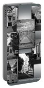 Provincetown Town Hall Cape Cod Massachusetts Collage Bw Vertical Portable Battery Charger