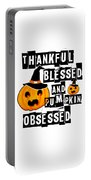 Pumpkin Obsessed Halloween Jackolantern Witch Hat Light Portable Battery Charger