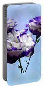 Purple And White Lisianthus Portable Battery Charger