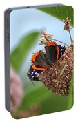 Red Admiral Butterfly On Milkweed Portable Battery Charger
