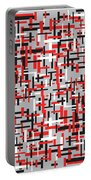 Red Black White Geometric Portable Battery Charger