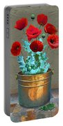 Red Patio Poppies Portable Battery Charger