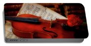 Red Rose And Violin With Sheet Music Portable Battery Charger