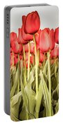 Red Tulip Field In Portrait Format. Portable Battery Charger by Anjo Ten Kate