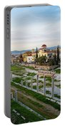 Remains Of The Roman Agora And Cityscape Of  Athens, Greece Portable Battery Charger