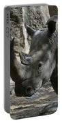 Rhinoceros With Two Horns Up Close And Personal Portable Battery Charger
