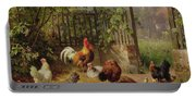 Rooster With Hens And Chicks Portable Battery Charger
