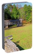 Rustic Double Crib Barn And Split Rail Fence In Cades Cove Portable Battery Charger