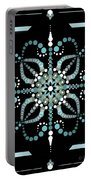 Sacred Circle Design In Blues And White Portable Battery Charger