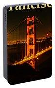 San Francisco Ca Golden Gate Bridge At Night Portable Battery Charger