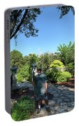 Self Portrait 20 - Aligned With A Half Moon Over Downtown Austin At Zilker Botanical Garden Portable Battery Charger