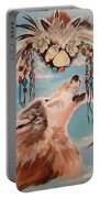 Shaman Mask And Wolf Portable Battery Charger