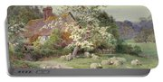 Sheep Outside A Cottage In Springtime Portable Battery Charger