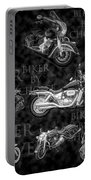 Shiny Bikes Galore In Black And White Portable Battery Charger