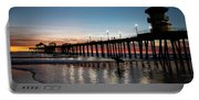 Silhouette Of Surfer At Huntington Portable Battery Charger