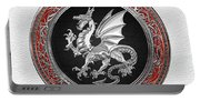 Silver Winged Norse Dragon - Icelandic Viking Landvaettir On Black And Silver Medallion Over White L Portable Battery Charger