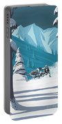 Snowmobile Landscape Portable Battery Charger by Sassan Filsoof