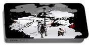 Spots In Snow In Black And White  Portable Battery Charger