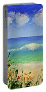 Spring Flowers And Sea And Clouds Portable Battery Charger