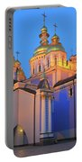 St Michael's Golden-domed Monastery At Dusk Kiev Ukraine Portable Battery Charger