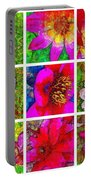 Stained Glass Pink Flower Collage  Portable Battery Charger