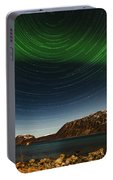 Startrail Over Northern Lights Portable Battery Charger