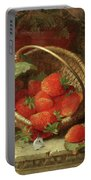Still Life Of Strawberries With A Cabbage White Butterfly Portable Battery Charger
