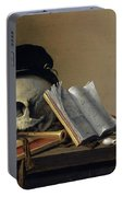 Still Life With Skull, Books, Flute And Pipe Portable Battery Charger