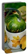Still Live With Autumn Coffee Cup And Gourds Portable Battery Charger
