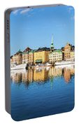 Stockholm Old City Fantastic Golden Hour Sunrise Reflection In The Baltic Sea Portable Battery Charger