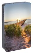 Sunset Over Dunes And Pier Portable Battery Charger