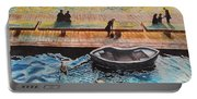 Sunset Scenery By Amsterdam Canal Portable Battery Charger