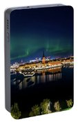 Swirly Aurora Over Stockholm And Gamla Stan Portable Battery Charger
