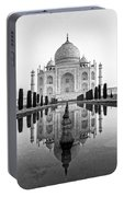 Taj Mahal In Black And White Portable Battery Charger
