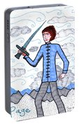 Tarot Of The Younger Self Page Of Swords Portable Battery Charger