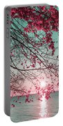 Teal And Fuchsia - Autumn Sunrise Reimagined Portable Battery Charger