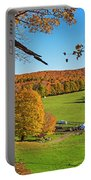 Tending To The Farm Woodstock Vermont Vt Vibrant Autumn Foliage Yellow And Orange Portable Battery Charger