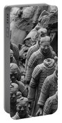 Terra Cotta Warriors In Black And White, Xian, China Portable Battery Charger