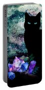 The Cat With Aquamarine Eyes And Celestial Crystals Portable Battery Charger