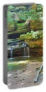 The Waterfall In Old Man's Cave Hocking Hills Ohio Portable Battery Charger