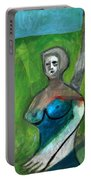 Topless Woman In A Park Portable Battery Charger
