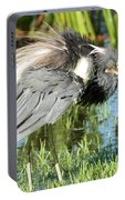 Tricolored Heron With Ruffled Feathers Portable Battery Charger