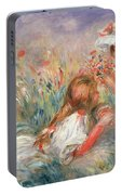 Two Children Seated Among Flowers, 1900 Portable Battery Charger