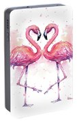 Two Flamingos In Love Watercolor Portable Battery Charger