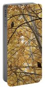 Two Owls In Autumn Tree Portable Battery Charger
